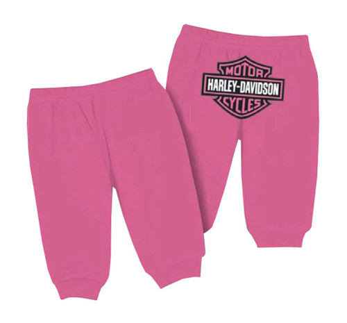 Harley-Davidson® Baby Girls' Interlock Glitter Bar & Shield Pants, Pink 4000603
