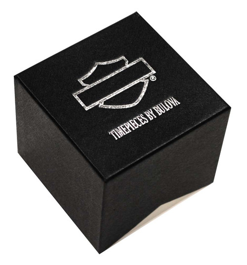 Harley-Davidson®  Women's Bulova Black Crystal Skull Wrist Watch 78L116 - A