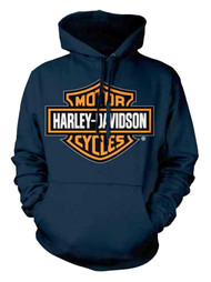 Harley-Davidson® Men's Orange Bar & Shield Navy Pullover Sweatshirt 30291742