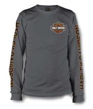 Harley-Davidson® Men's Long Sleeve Orange Bar & Shield Grey Shirt 30291963