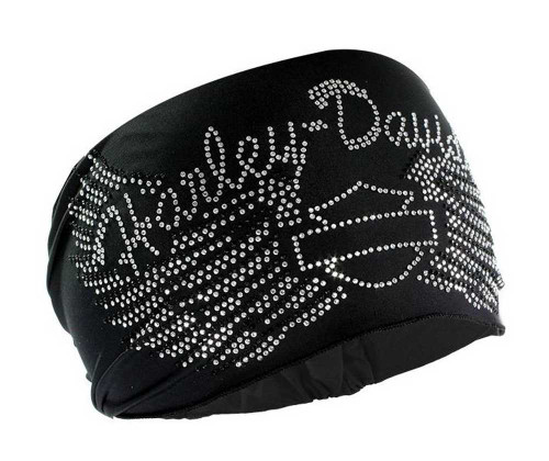 Harley-Davidson® Women's Headband Scrunchie, Studded Bar & Shield Wings HE07430