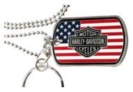 Harley-Davidson® Military Flag Bar & Shield Dog Tag, Chain & Key Ring 8003494