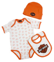Harley-Davidson® Baby Boys' Creeper Gift Box Set, Bar & Shield Logos 3050486 - A