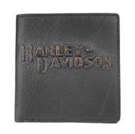 Harley-Davidson® Mens Tall Bi-Fold Wallet, Vintage Black Leather VM8023L-Black