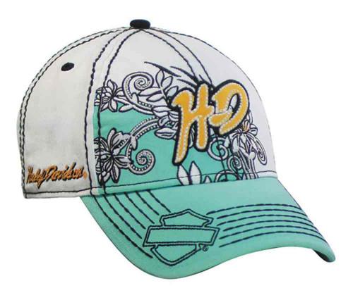 Harley-Davidson® Women's Baseball Cap, Hibiscus Flowers Design, White BC10200