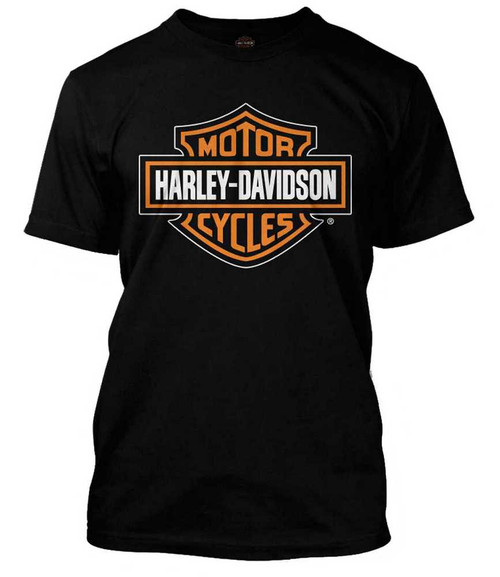 Harley-Davidson® Men's Orange Bar & Shield Black T-Shirt 30290591 ...