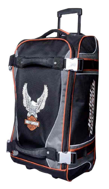 Harley-Davidson® 25 Inch Luggage, Up-Wing Eagle Bar & Shield Silver/Black 99325 - A