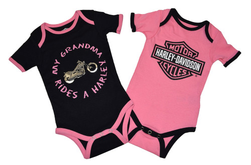 Harley-Davidson® Baby Girls' Creeper Set, Infant Grandma Rides a Harley 3009503