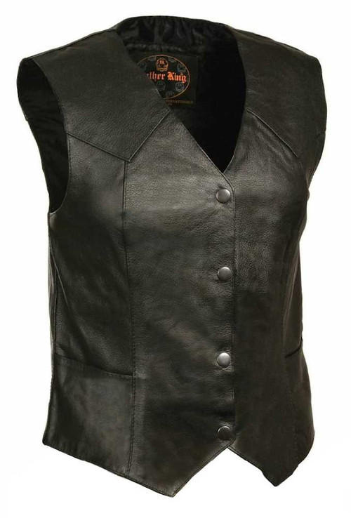 Leather King Women's Classic Four Snap Vest SH1227 - A