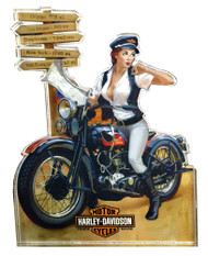 Harley-Davidson® Crossroads Pin Up Lady Magnet, Hard Sided, 4 x 3 inches 8003876