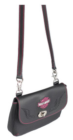 Harley-Davidson® Women's Embroidered Pink Bar & Shield Winged Clip Hip Bag, Black