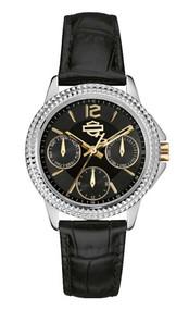 Harley-Davidson® Women's Bulova Multifunction Patterned Wrist Watch. 78N100 - A