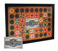 Harley-Davidson® Wood Poker Chip Collectors Frame, Holds 48 Chips, Black 6932 - A