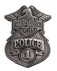 Harley-Davidson® Police Original Antique Nickel Pin, 1-1/8'' W x 1-1/2'' P1263063