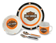 Harley-Davidson® Boy's Melamine Feeding Set, 5 Piece Bar & Shield Gift Set 20326