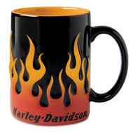 Harley-Davidson® Sculpted Orange Flame Ceramic Coffee Mug, 15 oz Black 99219-16V