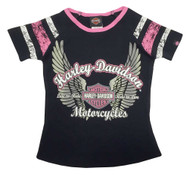 Harley-Davidson® Little Girls' Glittery Winged B&S Sporty Tee, Black/Pink 1030569