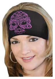 That's A Wrap Women's Biker Baroque Skull Solar Black/Pink Head Wrap. KB1225