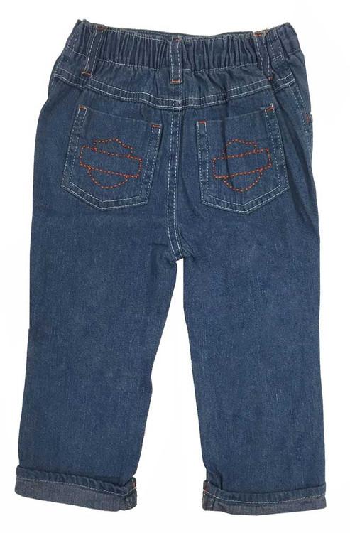 Harley-Davidson® Baby Boys' Denim Pant - Shirt Set, Denim/Orange/Black. 2071553 - C