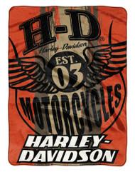 Harley-Davidson® Motor Patch Est. 1903 Raschel Throw Blanket, Orange NW047136