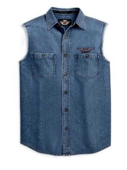 Harley davidson men 39 s blowout sleeveless shirt button up for Jean button up shirt mens