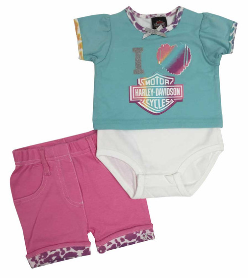 Harley-Davidson® Baby Girls' Short Set with Creeper, Pink/Aqua/Pastel 2002507 - A