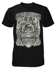 Harley-Davidson® Mens Overload Skull Distressed Short Sleeve Shirt Black 30298305