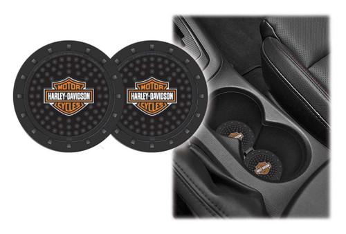 Harley-Davidson® Bar & Shield Car Drink Holder Coaster, Set Of 2, Black 360 - A