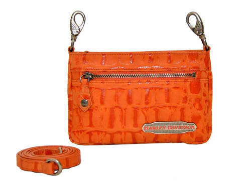 Harley Davidson Womens Orange Hammered Hip Bag Purse HC7988L-ORG