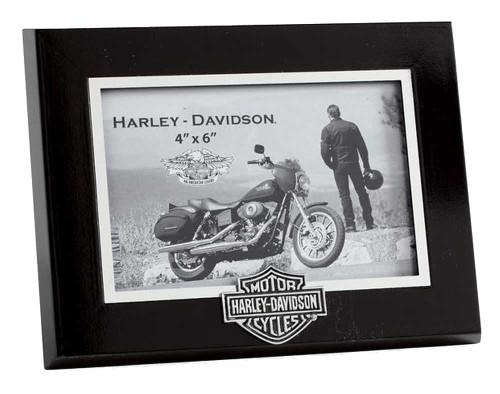 Harley-Davidson® Bar & Shield Logo Picture Frame, Black Wood 4x6. 99294-06V