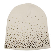 That's A Wrap Women's Beanie, Dazzle Black Diamonds Cap, White B1410-WHITE