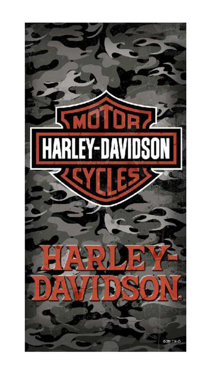 Harley-Davidson® Beach Towel, Bar & Shield Camouflage Print, 30 x 60 inch 12369