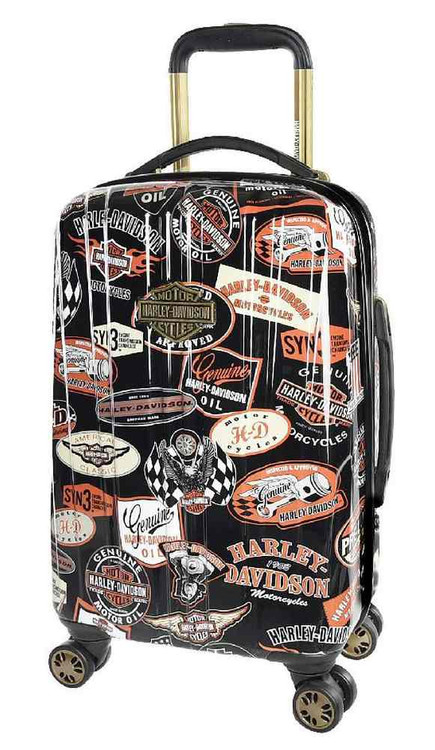 Harley-Davidson® 18 Inch Vintage Carry-On Spinner Wheels Luggage, Black 99918-VIN