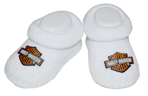 Harley-Davidson® Baby Boys' Boxed Booties, Bar & Shield Logo, White S9LUL21HD