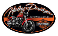 Harley-Davidson® Tin Sign, Fat Boy Motorcycle Oval Sign, Black/Orange 2010941