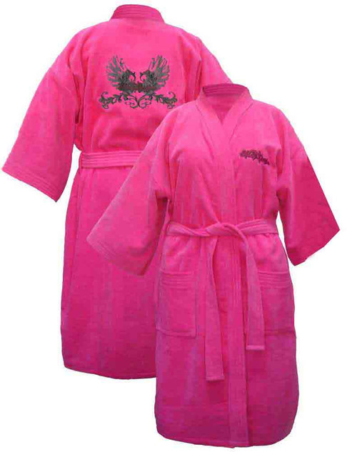 Harley Davidson Women's Pink Winged Kimono Robe Bathrobe 4746