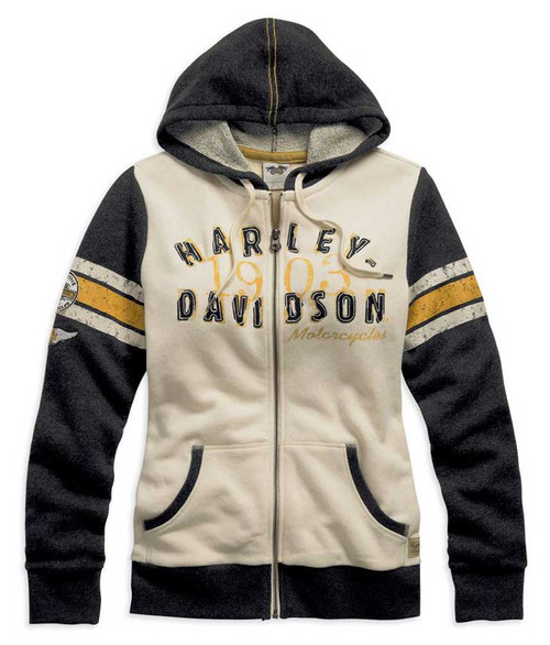 Harley-Davidson® Women's Genuine Activewear Hooded Jacket Black/Cream. 99120-15VW