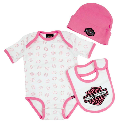 Harley-Davidson® Baby Girls' Creeper Gift Box Set, Bar & Shield Logos 3000401 - A