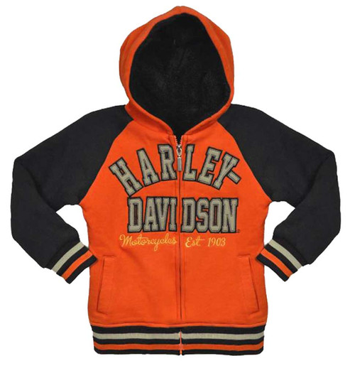 Harley-Davidson® Big Girls' Hooded Sweatshirt, Zip Sherpa Fleece Hoodie 3341492 - A