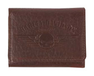 Harley-Davidson® Men's American Bison Skull Tri-Fold Wallet, Brown US1699L-BROWN - A