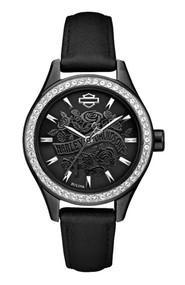 Harley-Davidson® Women's Flower Power Black Leather Wrist Watch 78L119