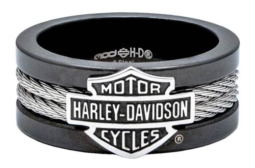 harley davidson mens ring bar shield steel cable band black hsr0021 - Harley Wedding Rings