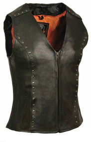 Milwaukee Leather Ladies Zipper Front Vest, Studding Detail ML2078 - A