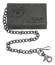 Harley-Davidson® Men's Burnished Tri-Fold Skull Biker Chain Wallet BM2625L-TanBlk