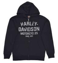 Harley-Davidson® Men's Hooded Sweatshirt, Distressed Script Black Hoodie 30294033 - A