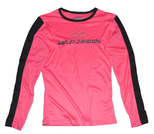 Harley-Davidson® Big Girls' Performance Long Sleeve Tech Shirt, Pink 3341546