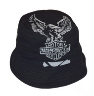 Harley-Davidson® Men's Bucket Hat, Foldable Cotton Canvas Cap, Black HD-402 - A