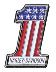Harley-Davidson® #1 RWB Logo Lapel Pin, 2D Die Cast, Silver Finish P153203