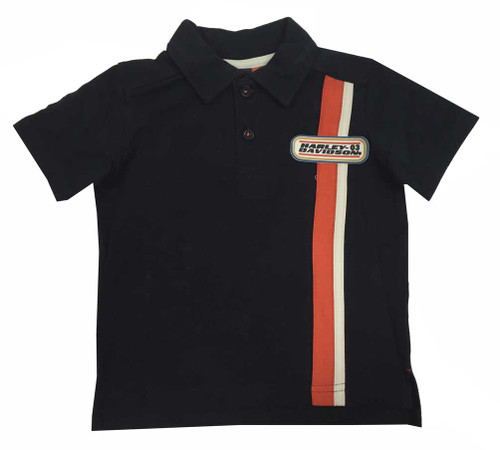 Harley-Davidson® Big Boys' Polo Shirt Vertical Stripe, Orange/Black 1091531 - A