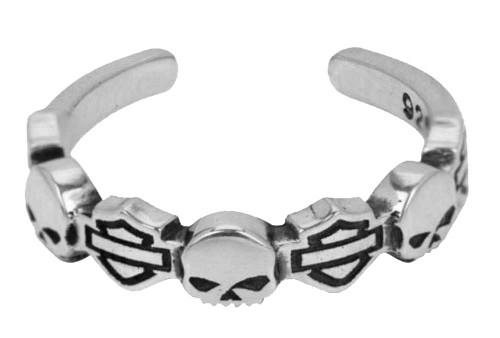 Harley-Davidson® Bar & Shield Skull Sterling Silver Toe Ring HDT0013